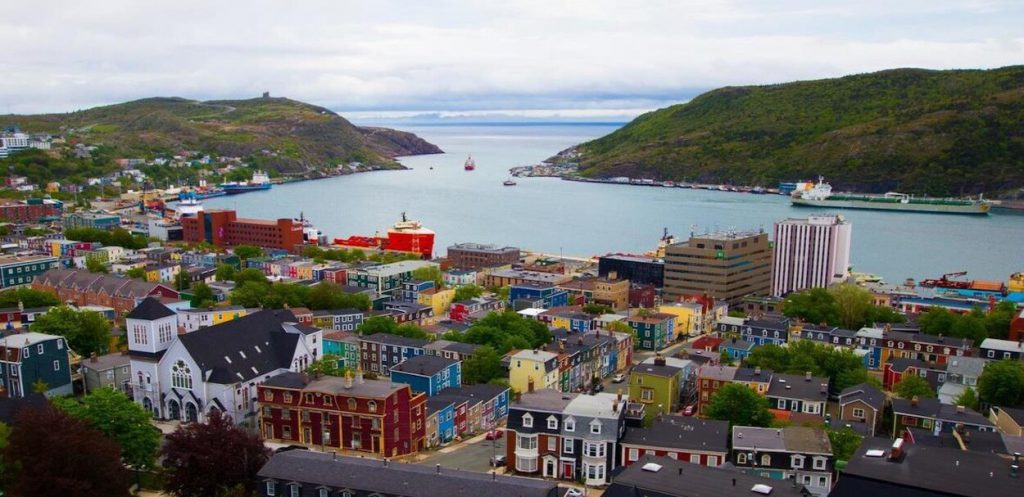 An aerial view of St. John's, Newfoundland.