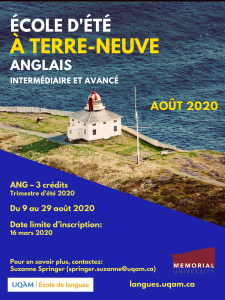 Poster for the 2020 Newfoundland Summer School.